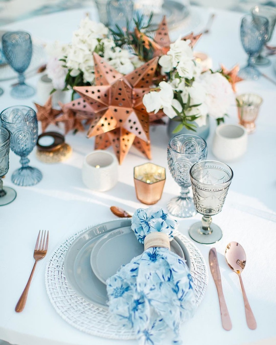 Summer Tablescape with Blue and Copper Accents
