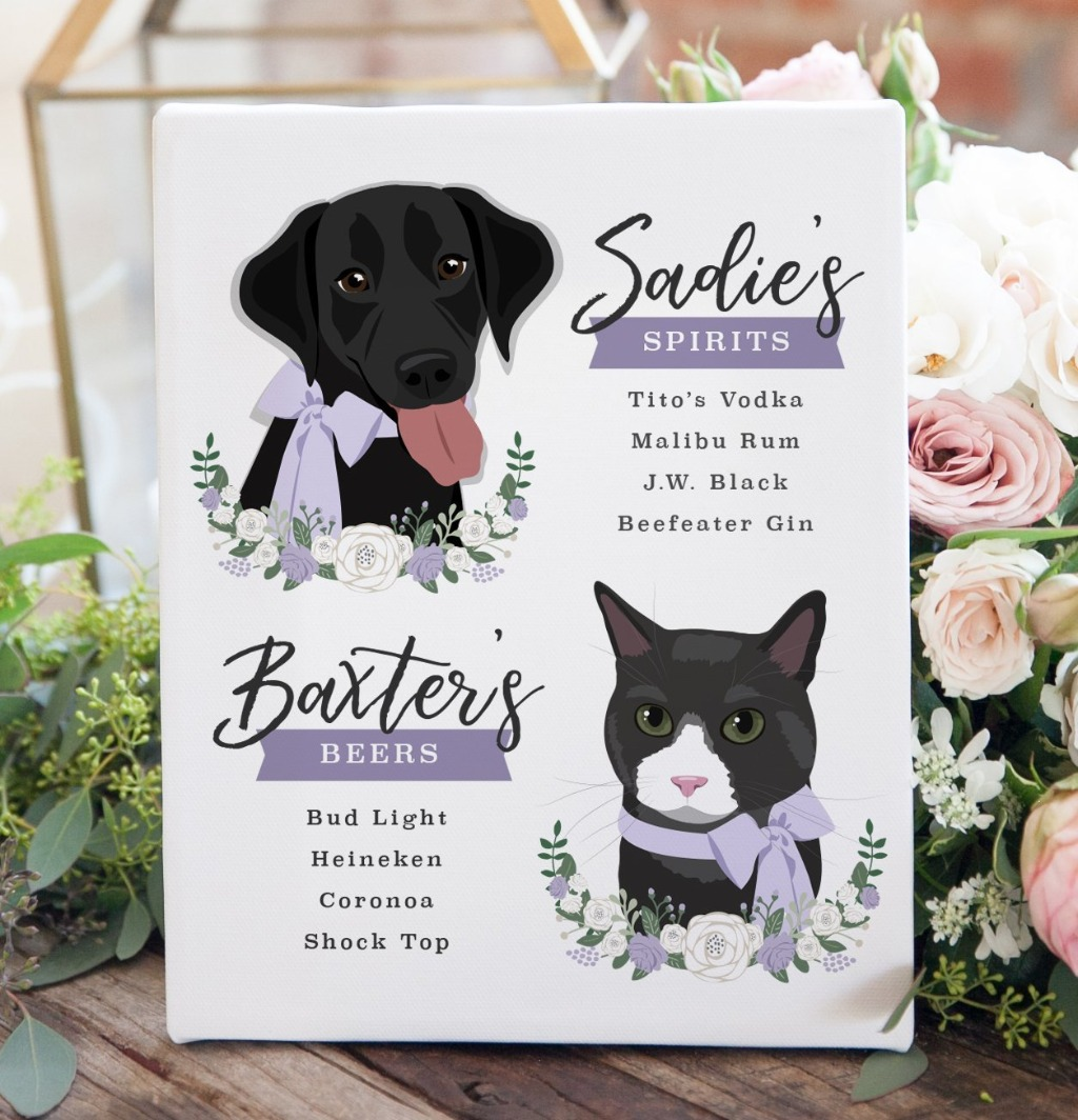 While signature cocktails are great, a fully stocked bar is even better!! This Wedding Bar Menu Sign with Two Pet Portraits is the