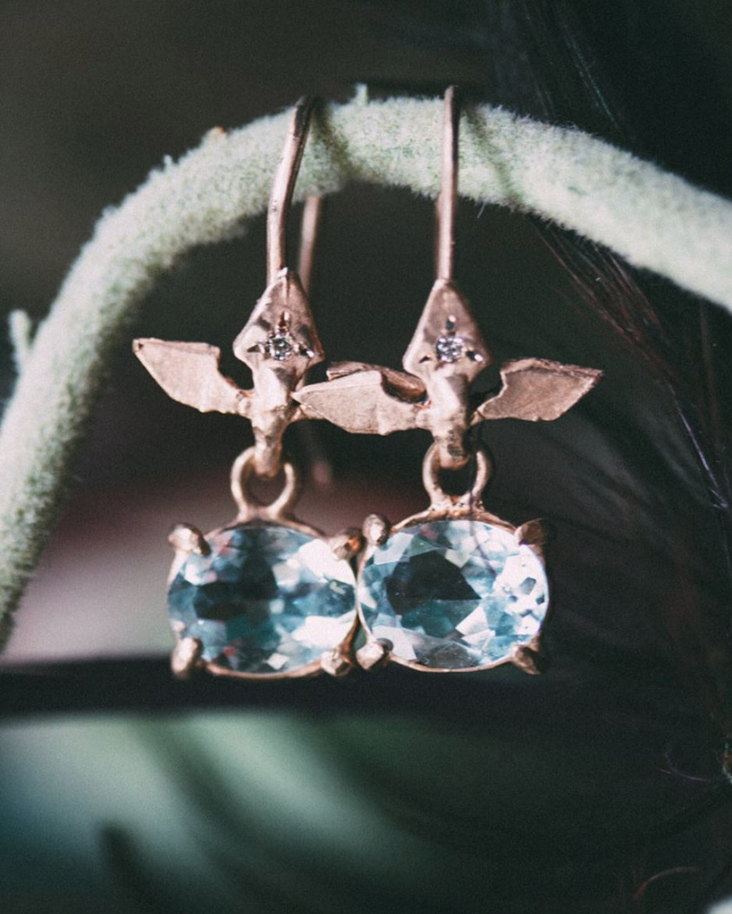 Ignis Aquamarine. This pair of earrings in 14K yellow gold with handcrafted earring wires with diamond accent. Simplistic and edgy