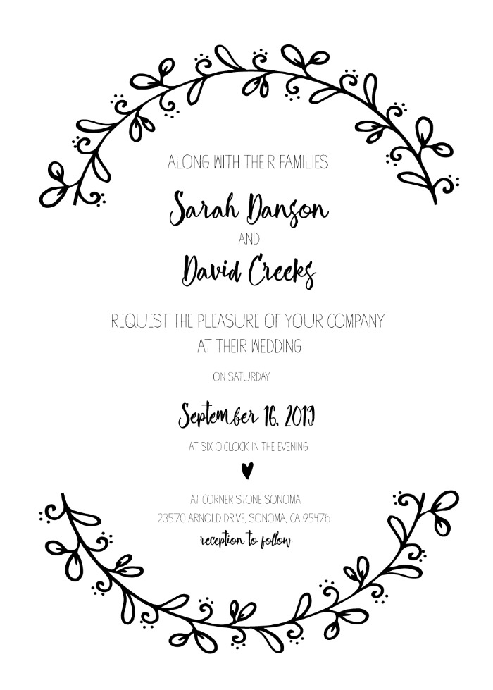 Print: Rustic Wreath Wedding Invitation