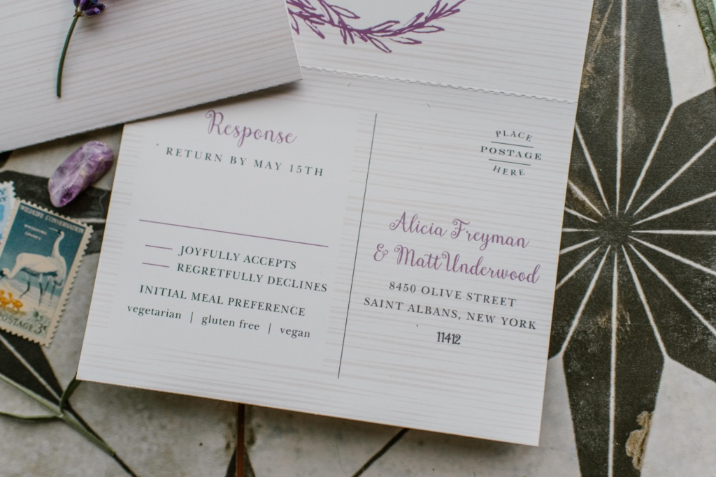 Seal & Send Wedding Invitations will save you time & money! These all-in-one invites include a tear-off rsvp postcard - super