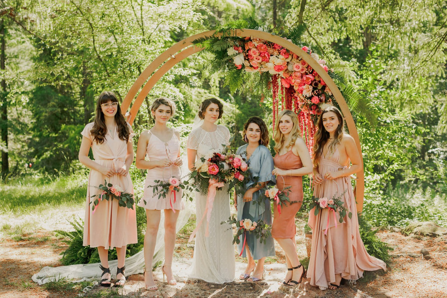 wedding bridesmaids in mismatched dresses