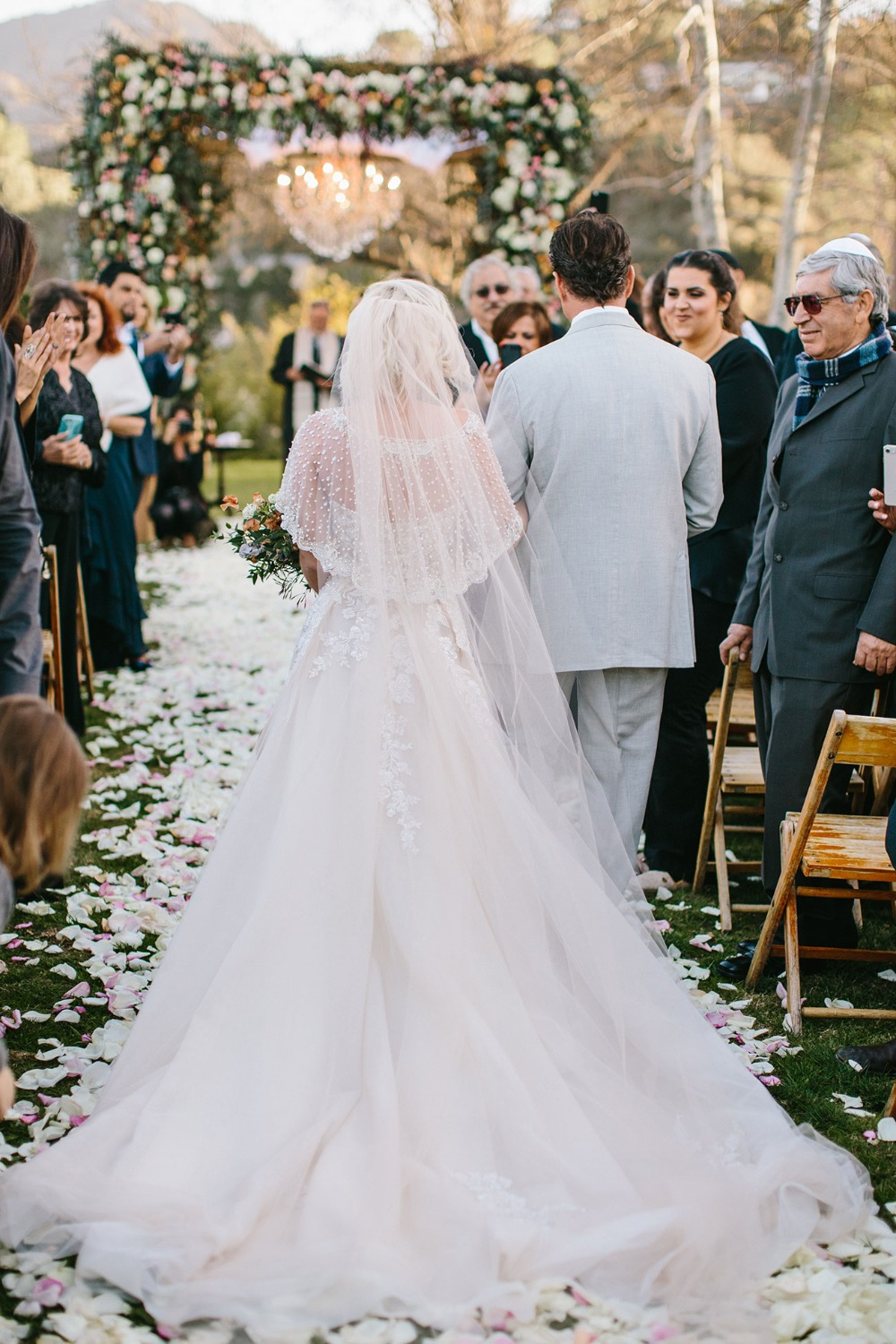 boho bride in Galia Lahav wedding dress