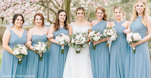 b726dfe33a5 Posted By Azazie. Loving these bridesmaids in Dusty Blue!