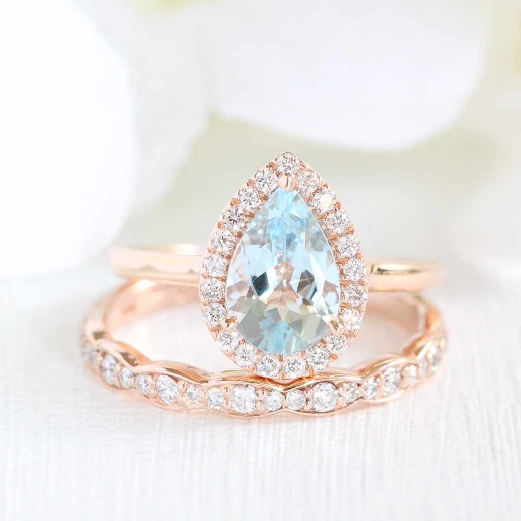 Stunning bridal set of Pear Aquamarine in Halo Diamond Engagement Ring with Scalloped Diamond Wedding Band in Rose Gold. See more of