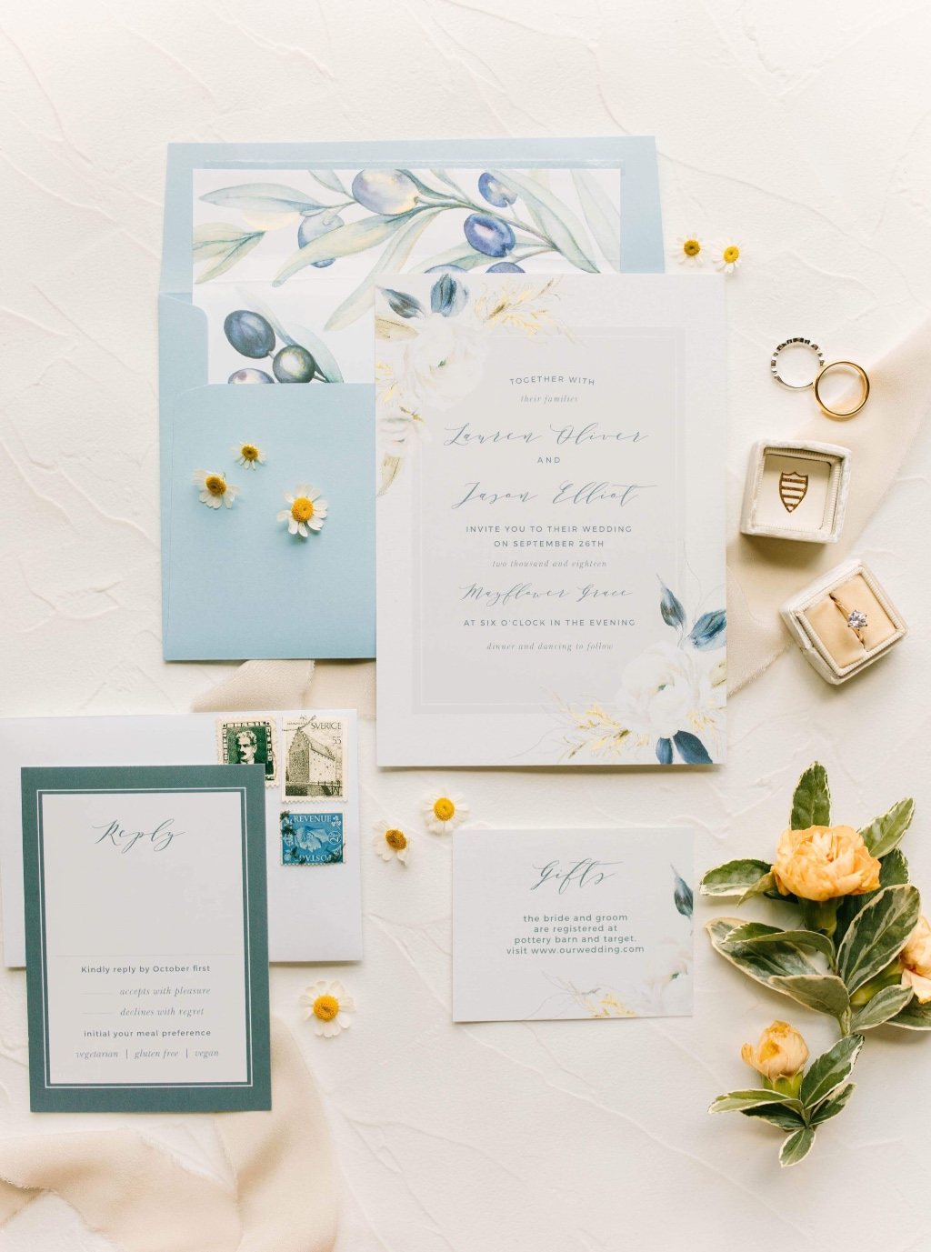 Create your own vintage vibes using muted colors and mismatches prints. The Oil Paint Textured Wedding Suite - an all time fav!