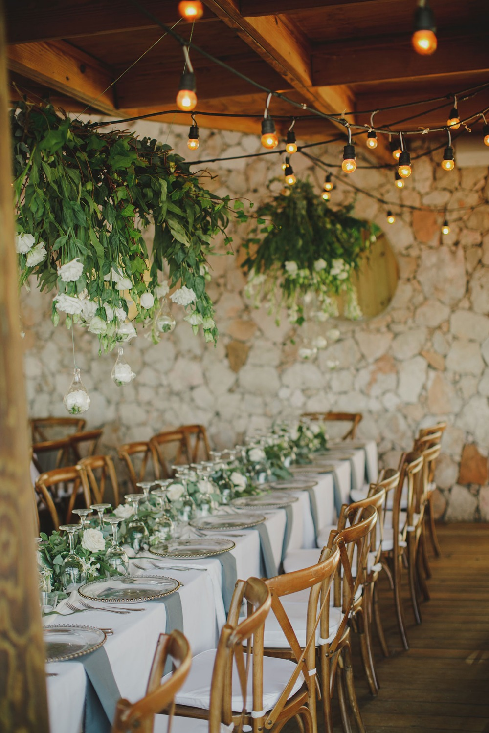 white and green rustic yet glam able reception
