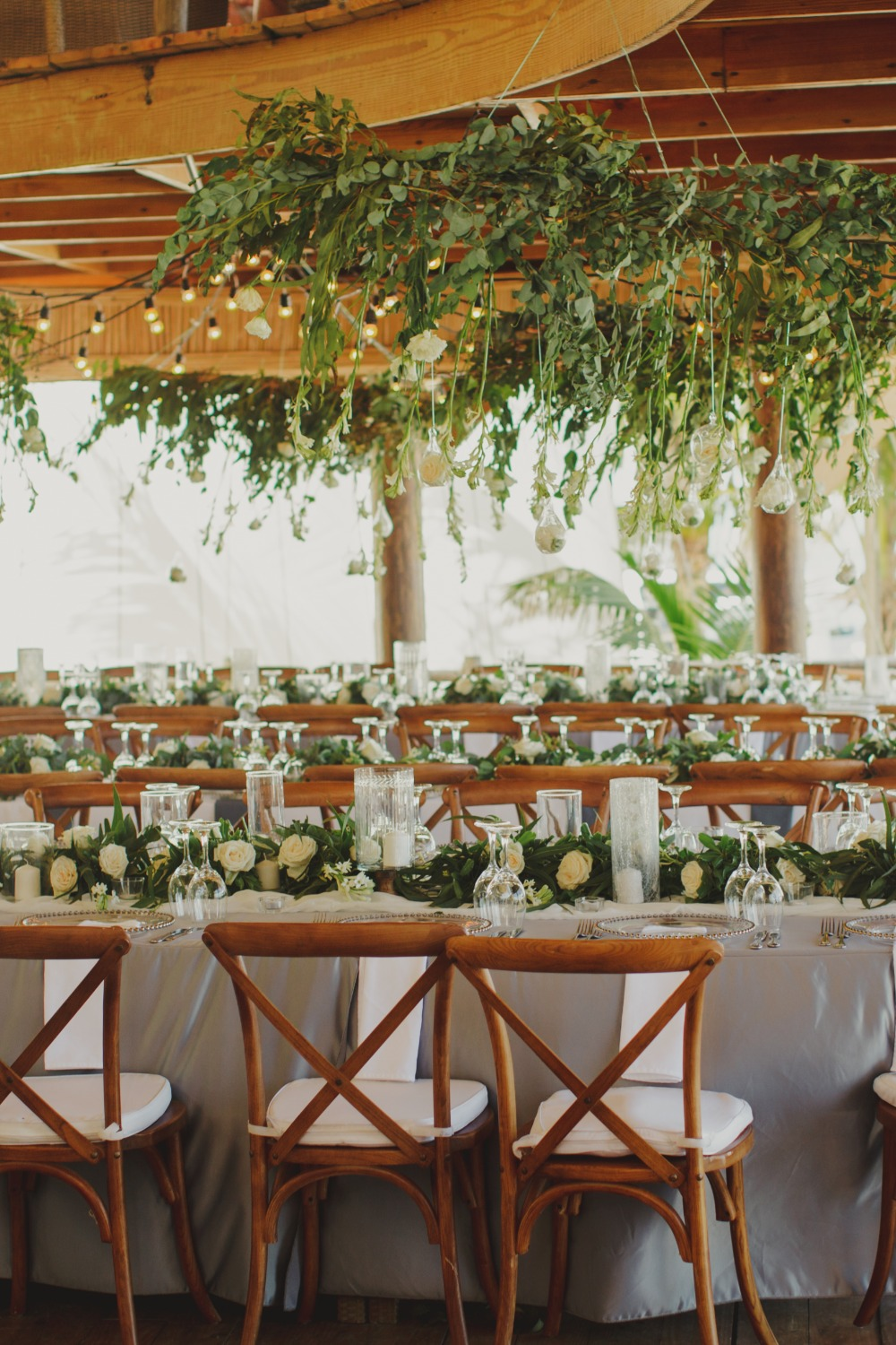 glamorous table setting with hanging flowers