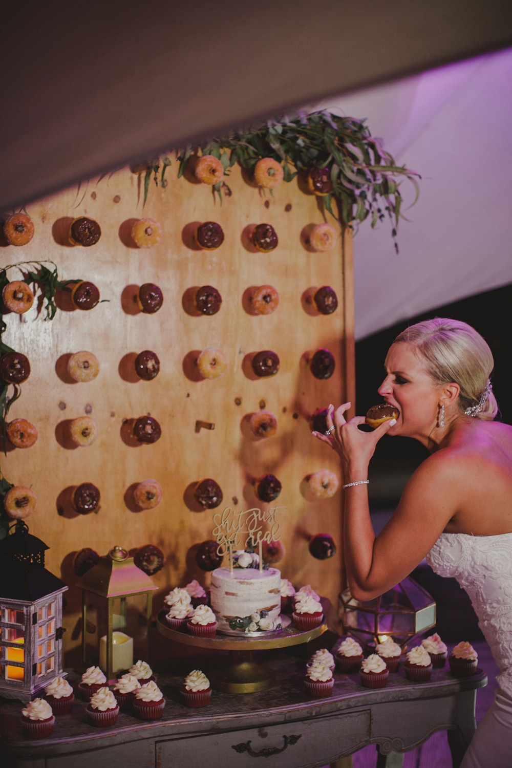 bride eating a donut