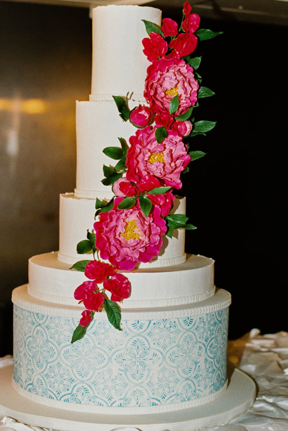 floral accented wedding cake