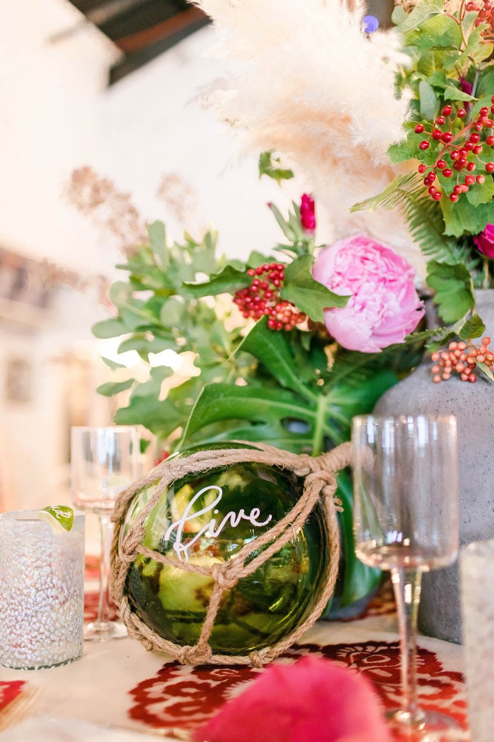 glass ball wedding table number idea