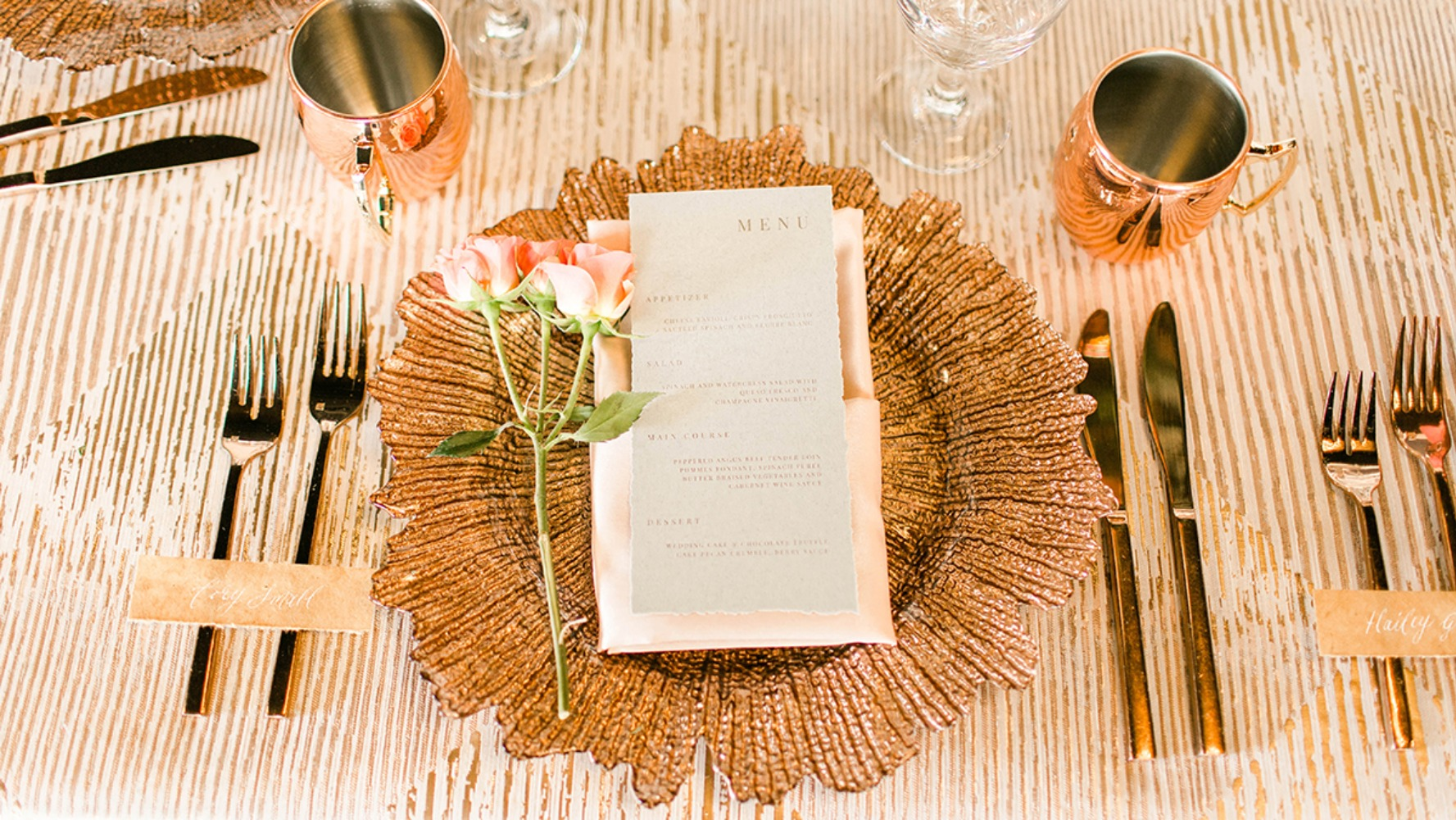 gold and glam wedding place setting