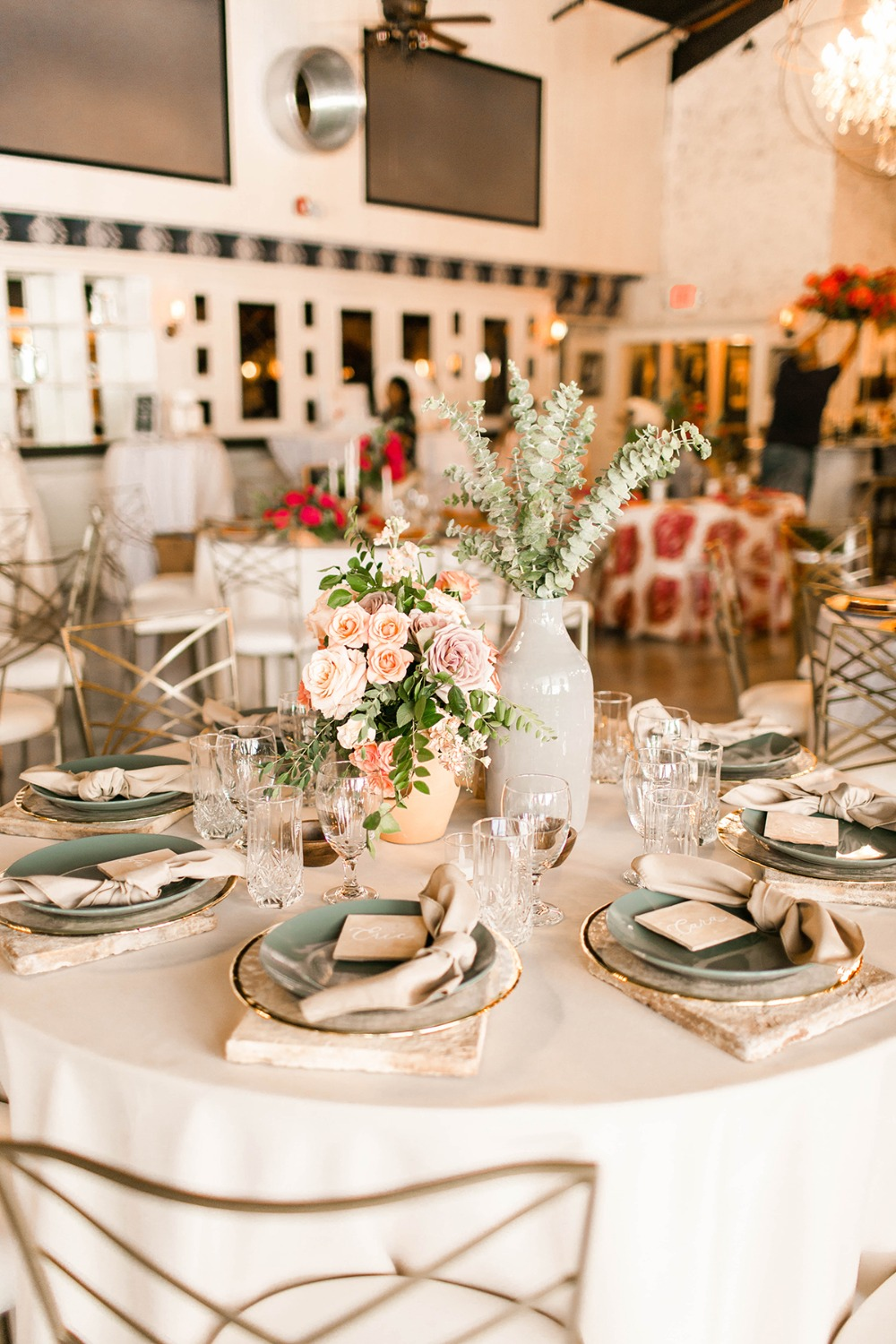 romantic neutral toned wedding table