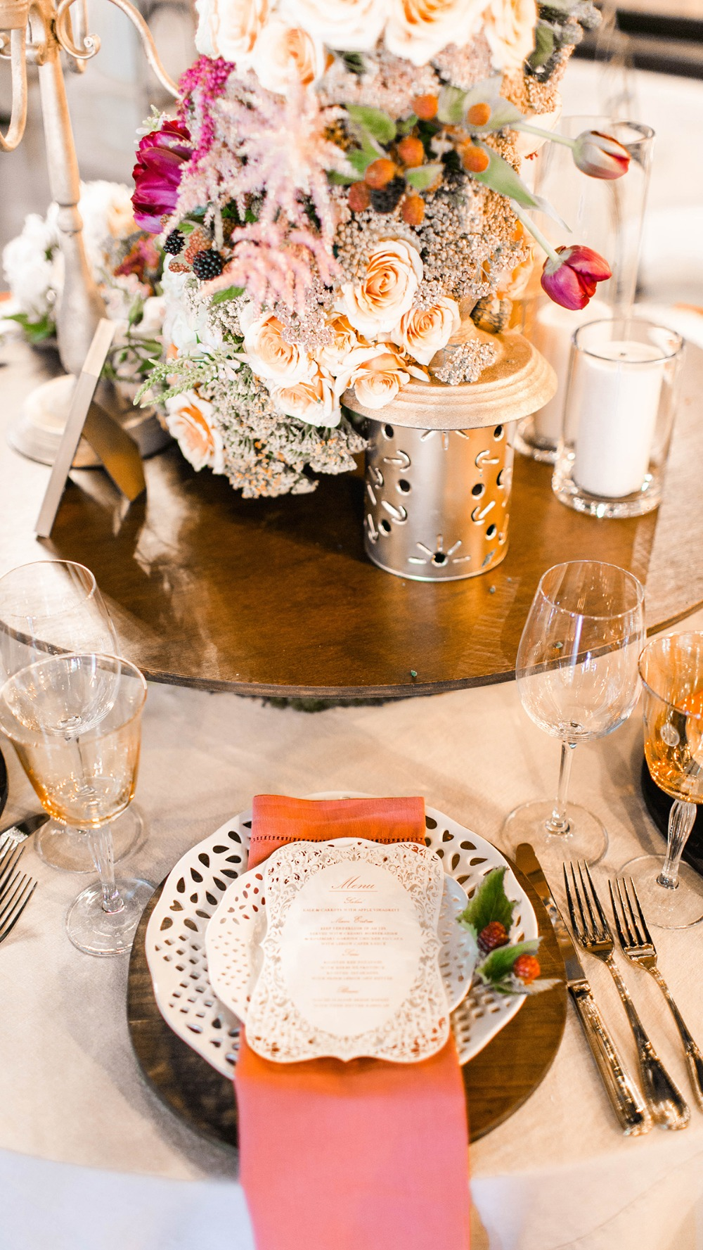 romantic fall inspired wedding table decor