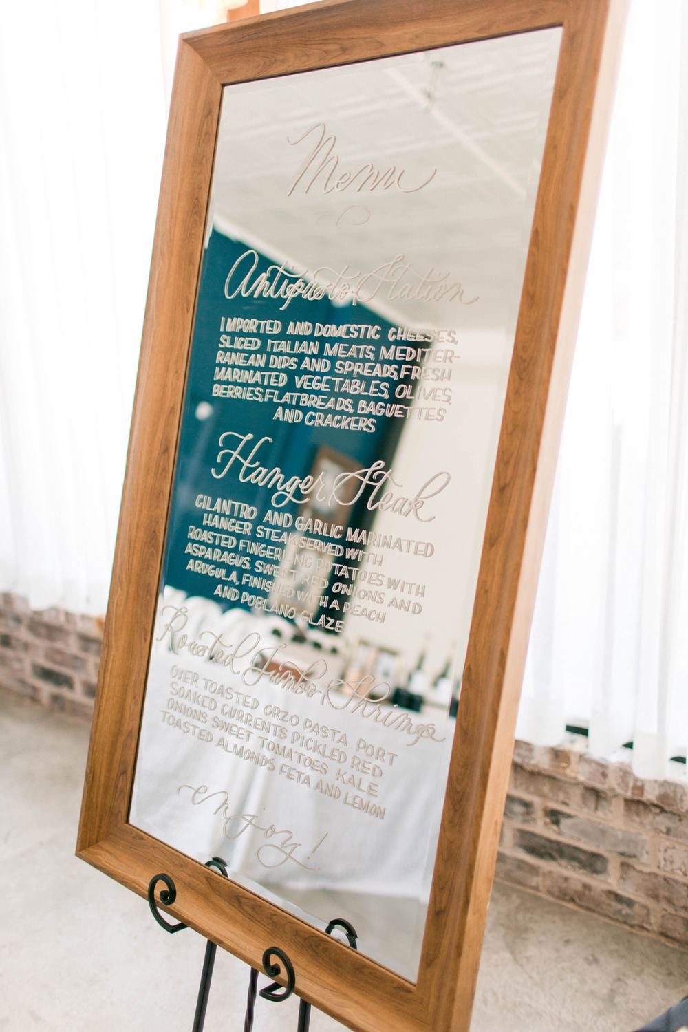 mirror wedding menu