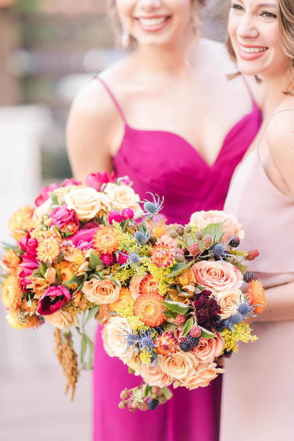 orange and pink wedding bouquets
