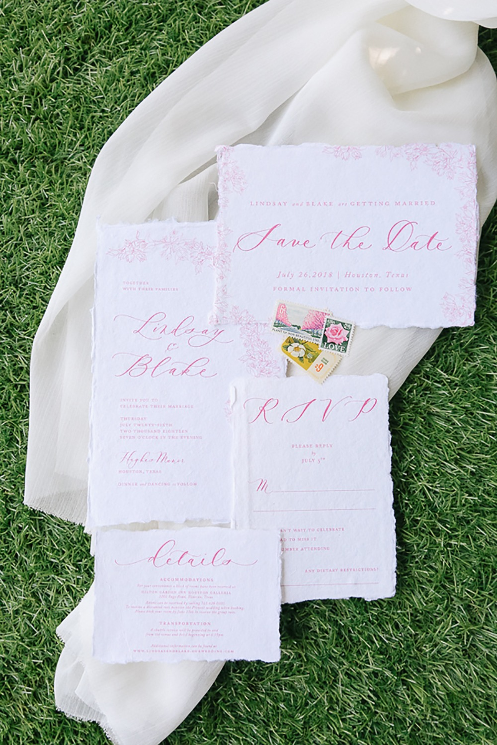 pink calligraphy wedding invitation suite