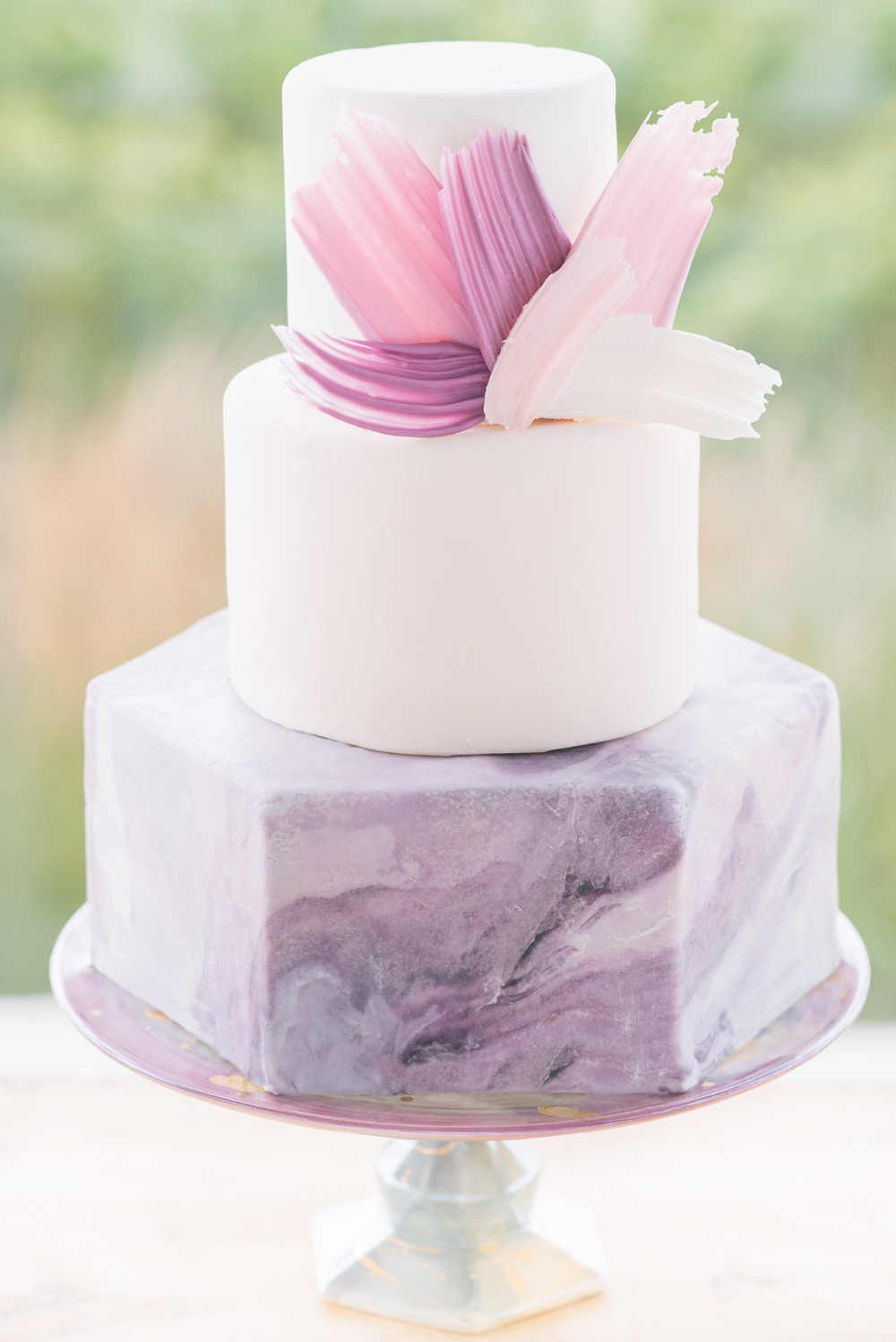 modern purple and pink wedding cake