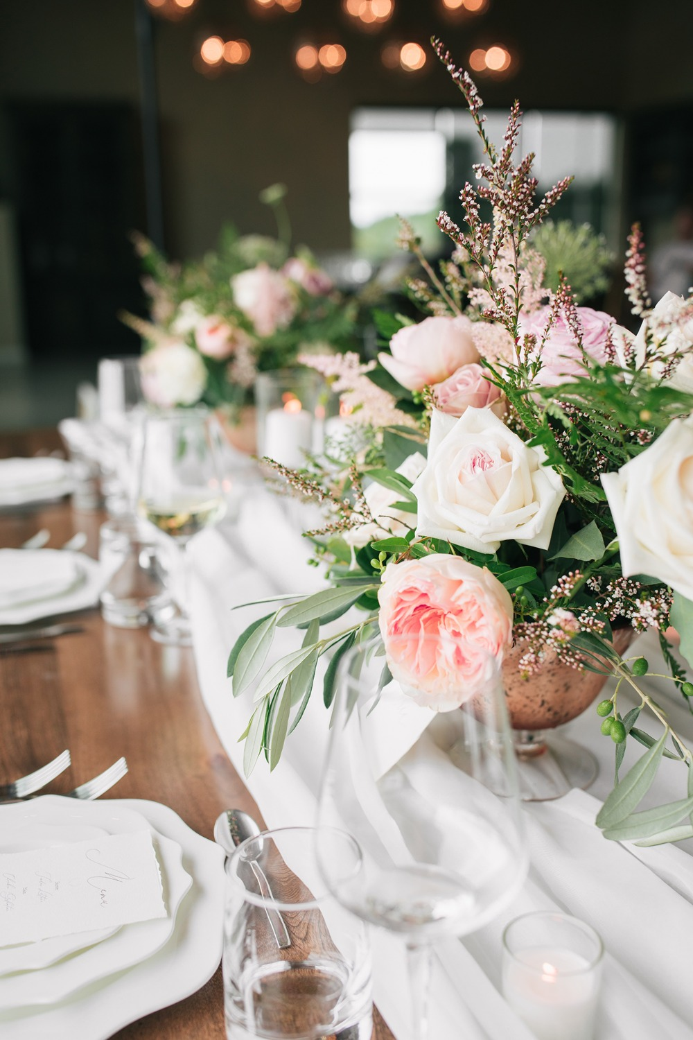 blush and white wedding centerpieces