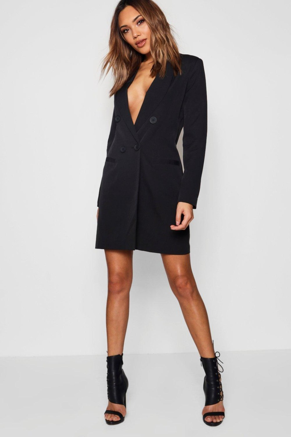 Boohoo Double Breasted Blazer Dress