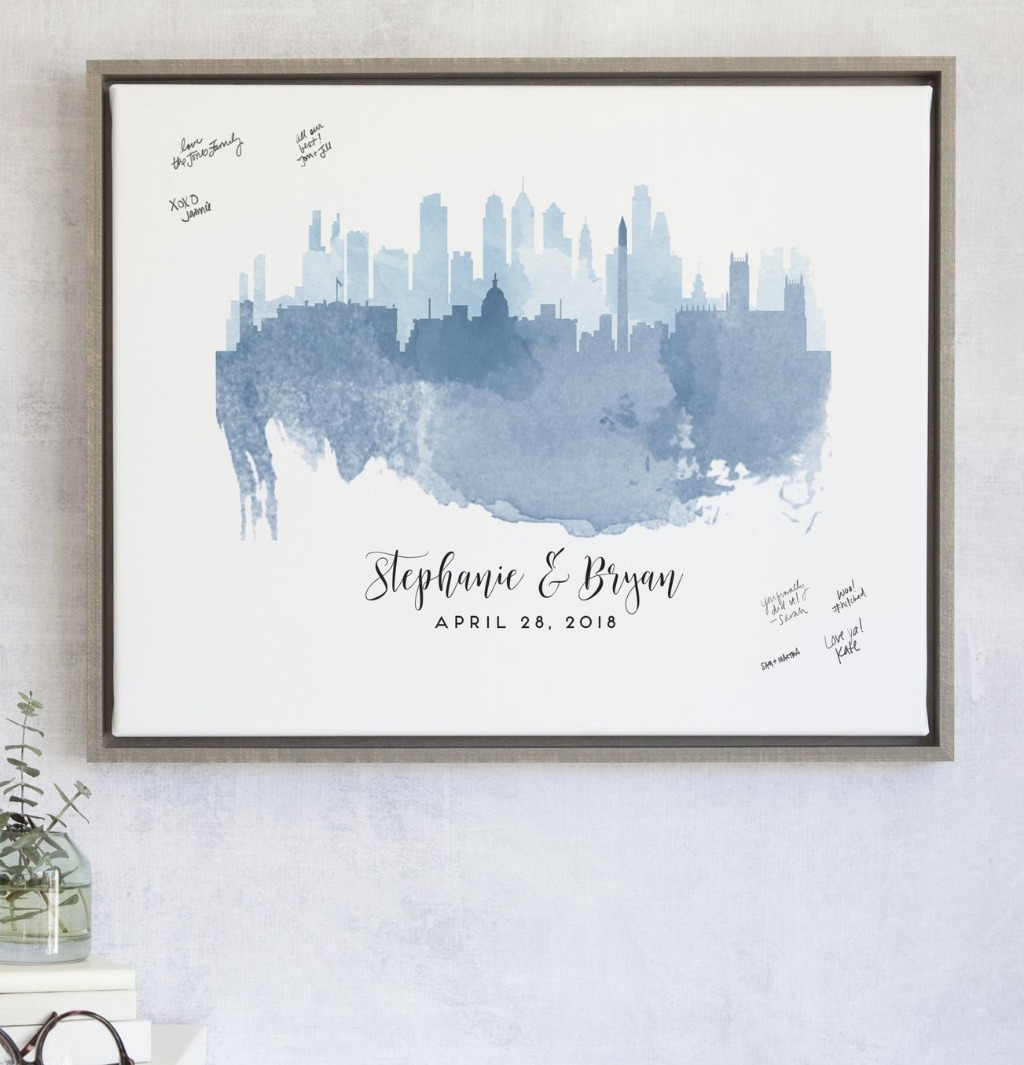 Our Watercolor Skylines Guest Book Alternative features the two cities that mean the the most to you!! We'll overlap them with the