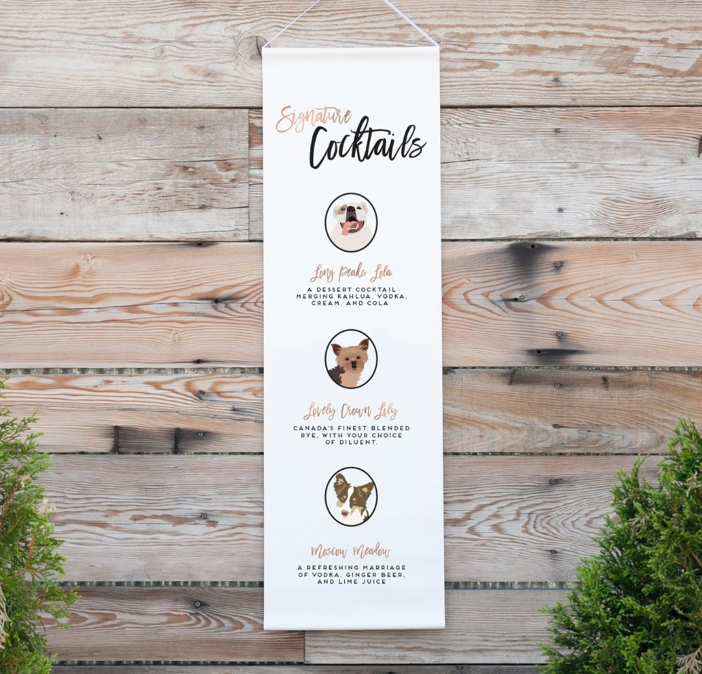 We're all about wedding decor over here at Miss Design Berry, and this Personalized Signature Drink Wedding Banner with Pet Portraits