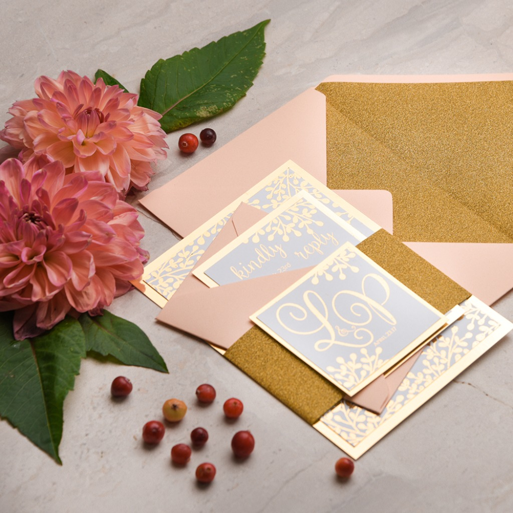 wedding invitations glitter and peach