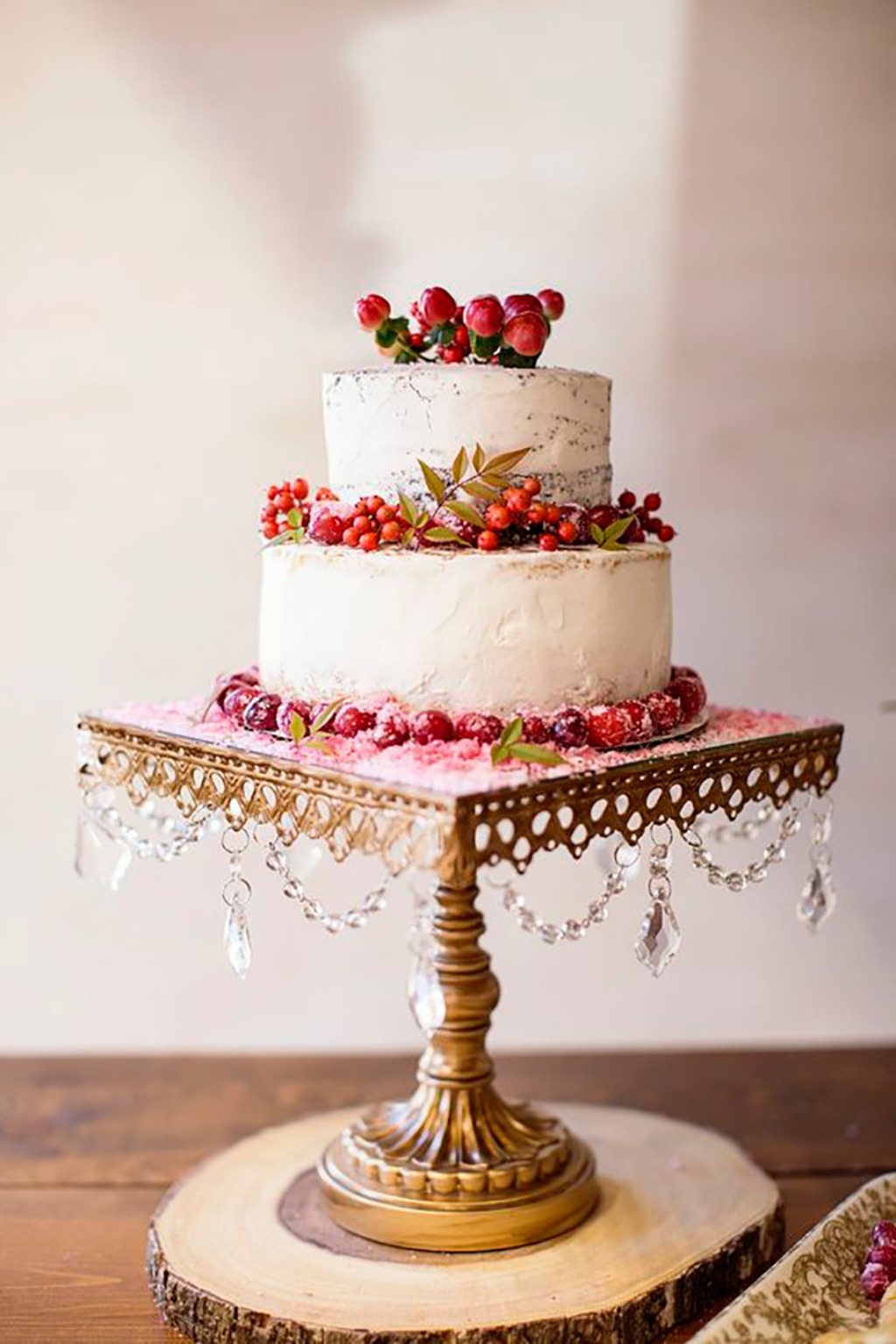 Rustic two-layered cake topped with winter berries from Entwined Events Catering | Heather Kidd Photography | Square Chandelier Antique