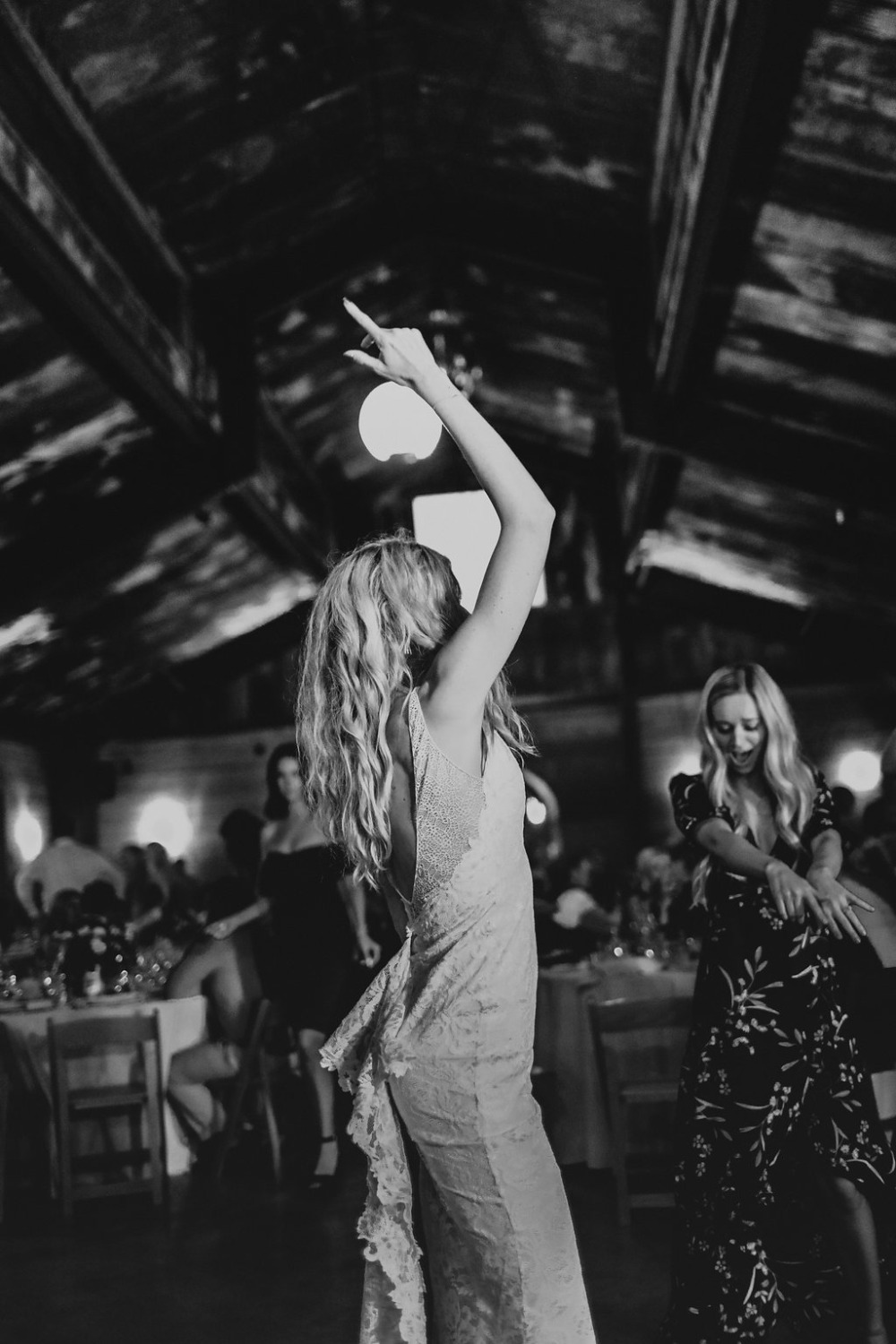 bride having a great time on the dance floor