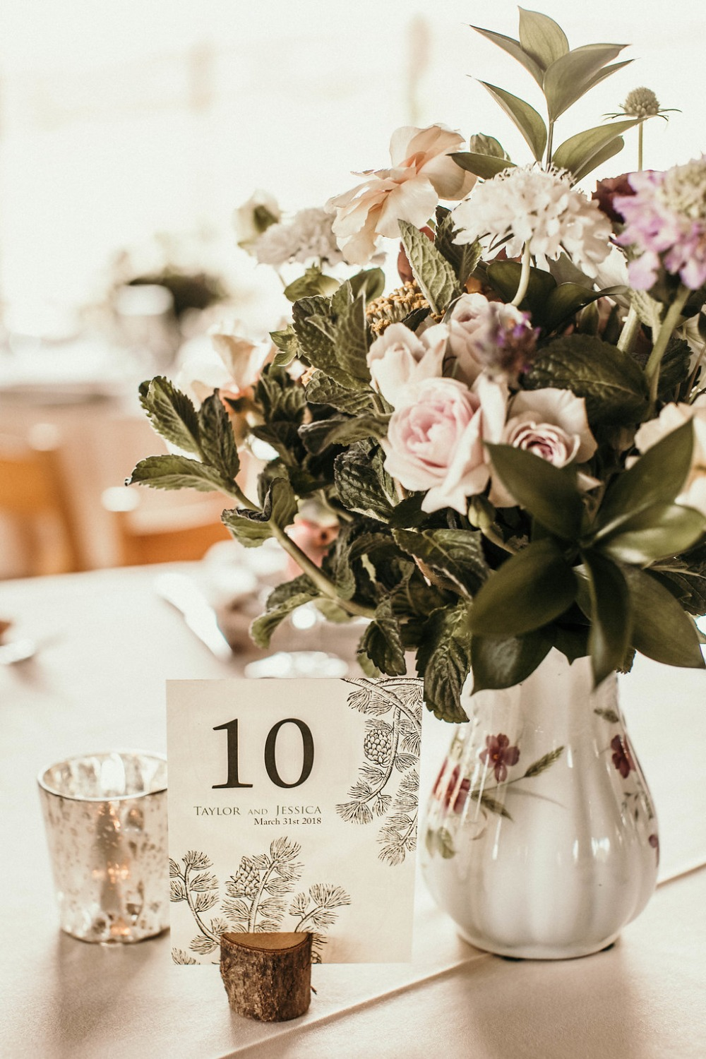 romantic and shabby chic wedding centerpiece