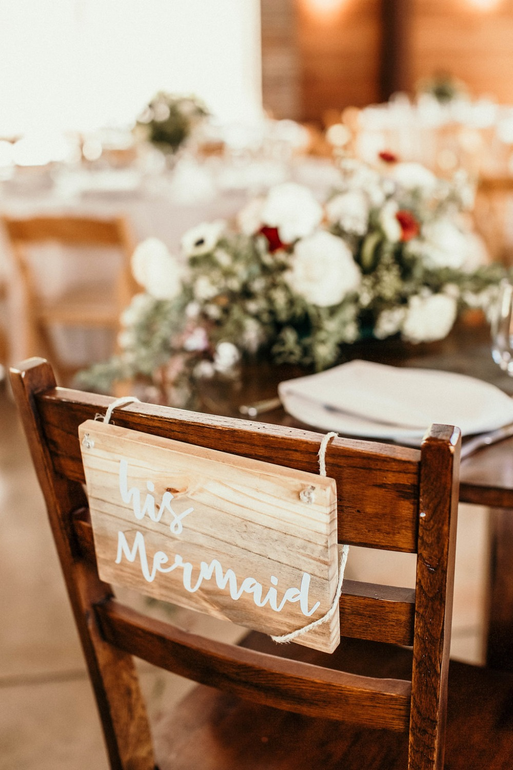 his mermaid wedding seat sign