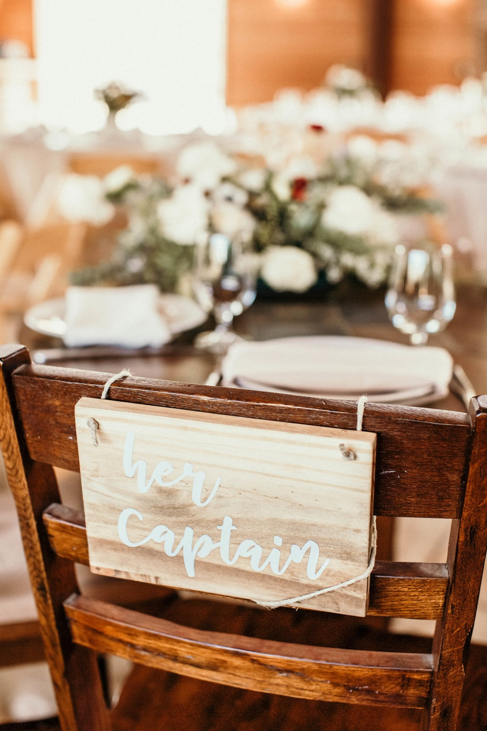 her captain wedding seat sign