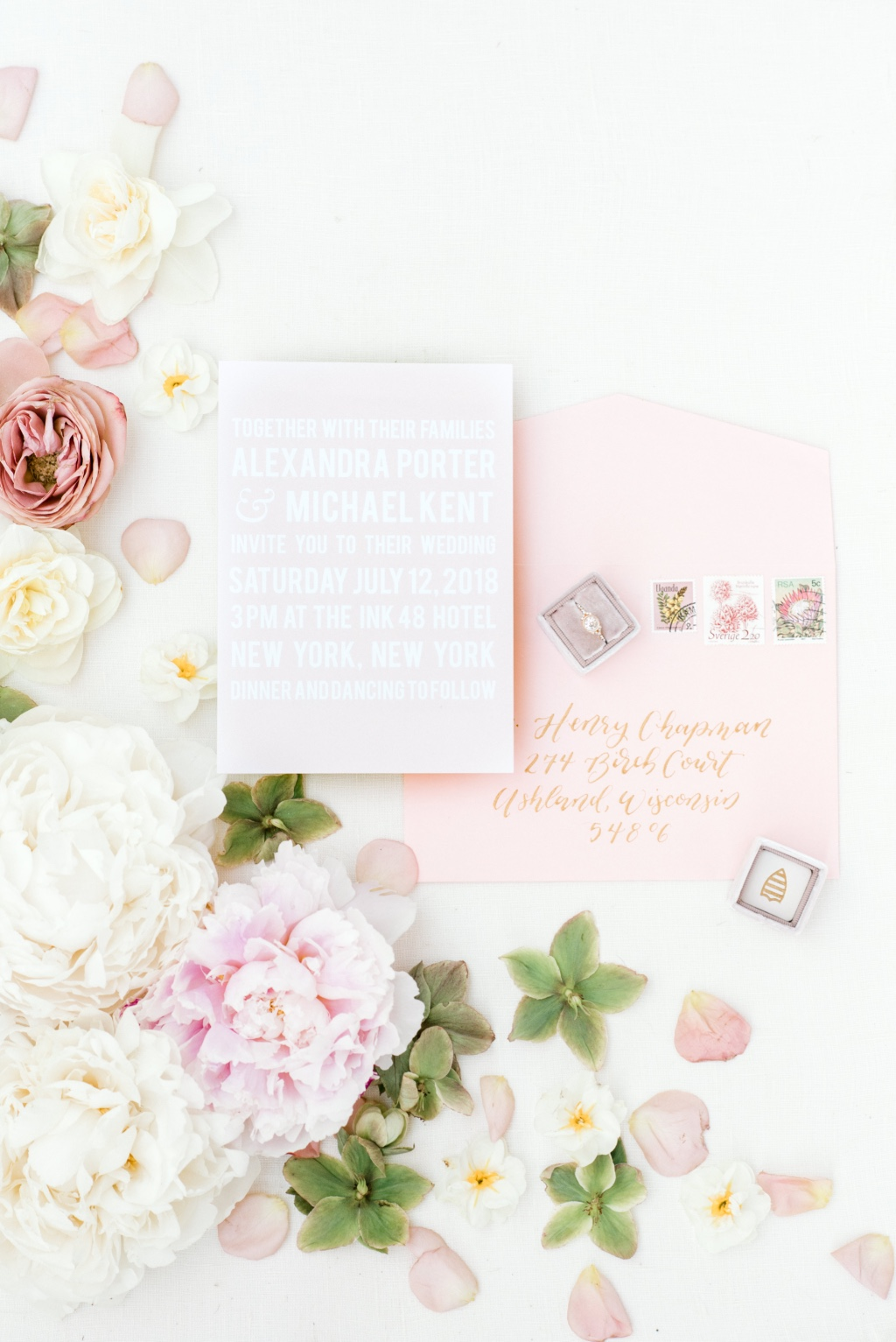 Can you say pretty in pink?! This simple design made bold with custom bright white font and the ultimate bridal color scheme!