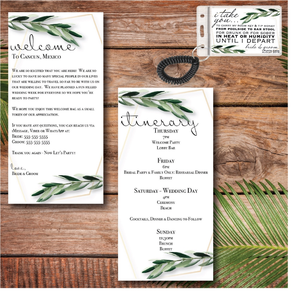 Where my greenery brides at? Shop this adorable destination wedding welcome suite now!