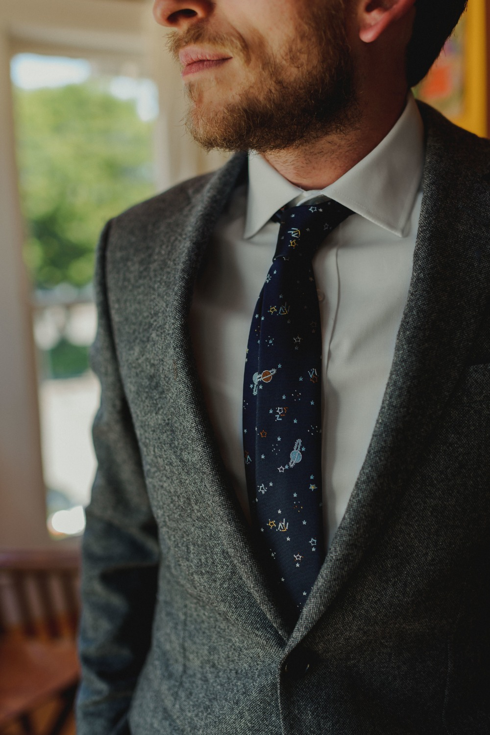 space tie for the groom