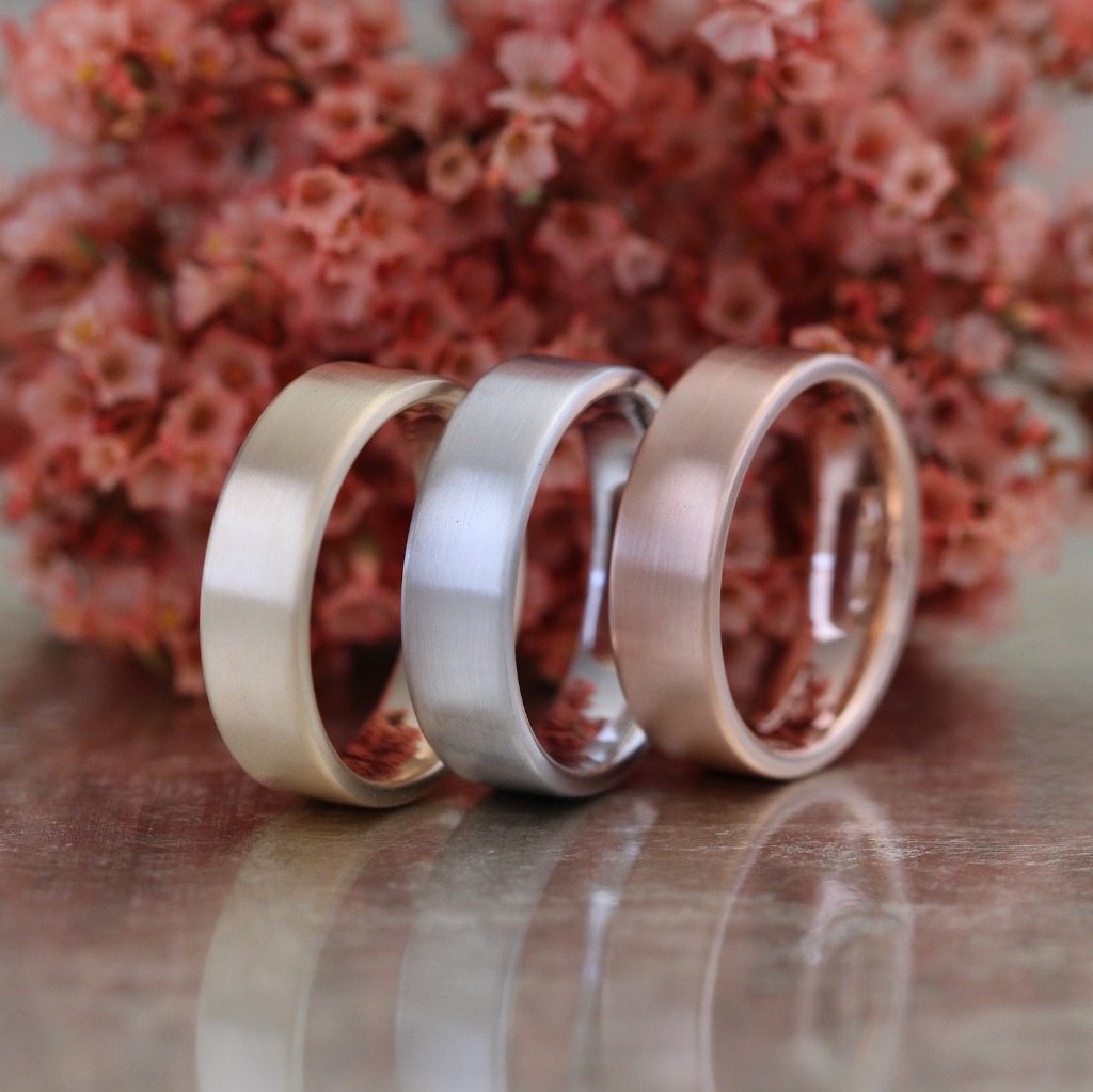 For that special person in your life that wants a simple and comfortable, but stylish wedding band. Our matte finish flat wedding bands