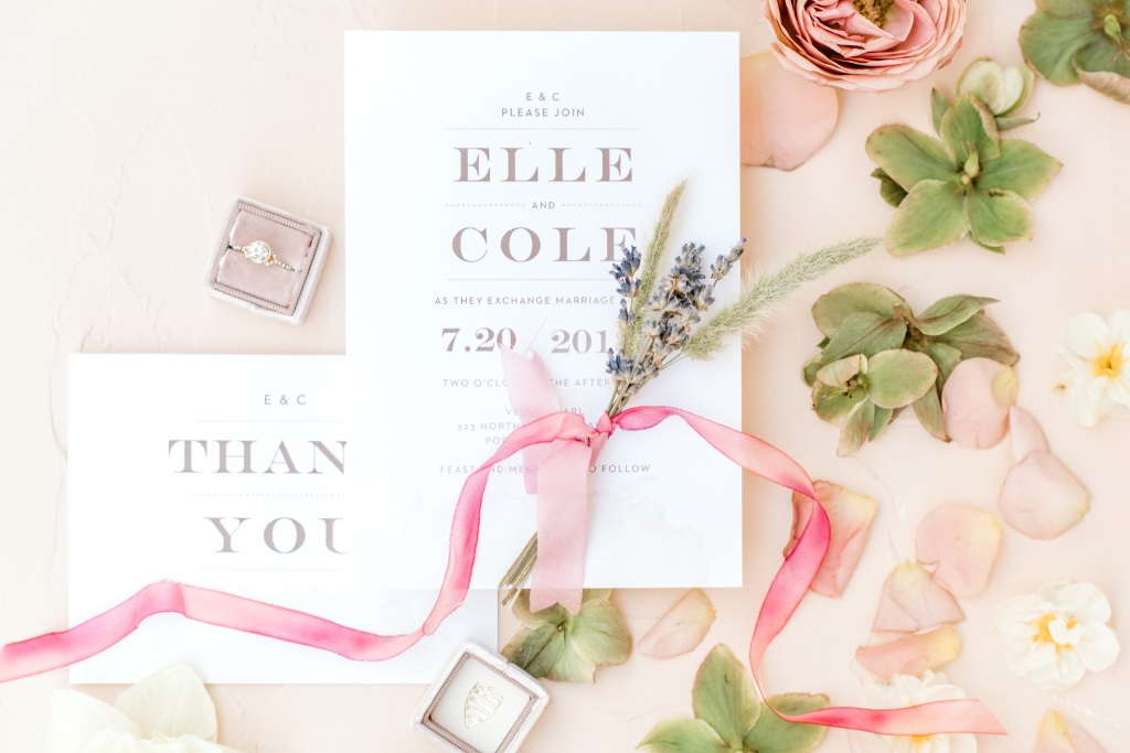 Modern Gold Wedding Invitation with a matching thank you note. All 900+ wedding invitations come with matching enclosure cards and