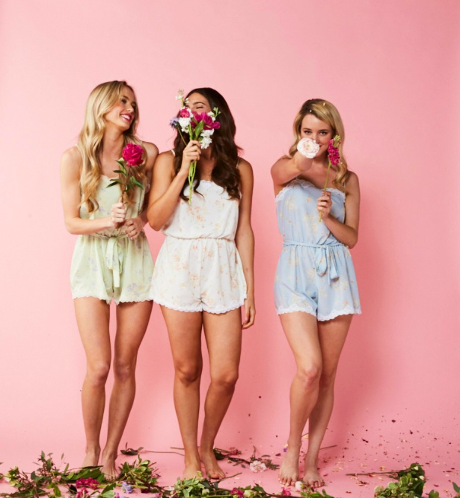 Love Ophelia Gatsby Rompers in Mint White and Blue