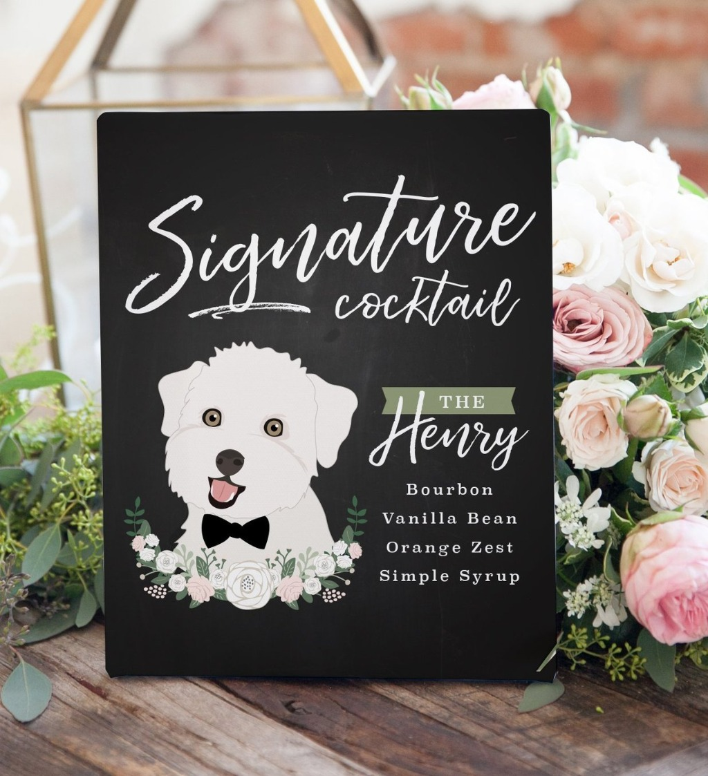This Chalkboard Signature Cocktail Sign with Pet Portrait is the BEST decor you can have on your big day!! Let your guests know what