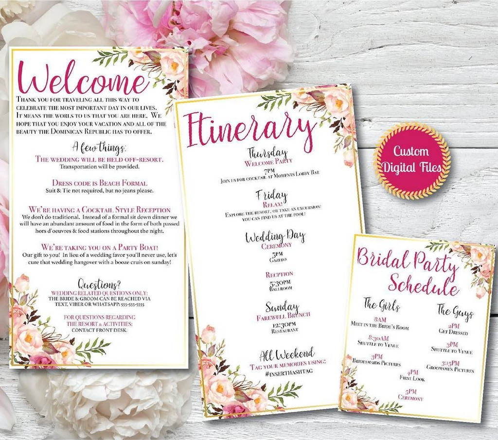 Floral & Gold Fully Customized Digital Files. We customize, you print! Includes Welcome Letter, itinerary & bridal party schedule