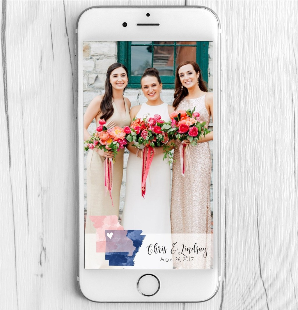 Our Snapchat Filters aren't just for our couple portraits; we can also include your beautiful Watercolor State design as well!! Come