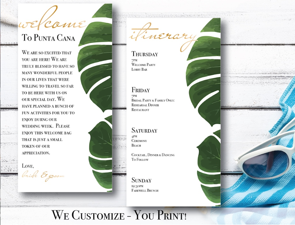 Palm Leaf Destination Wedding Itinerary & Welcome Letters! Available in gold & rose gold. We customize - you print!