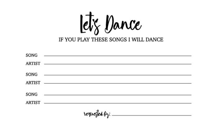 Free Dance Song Request Card