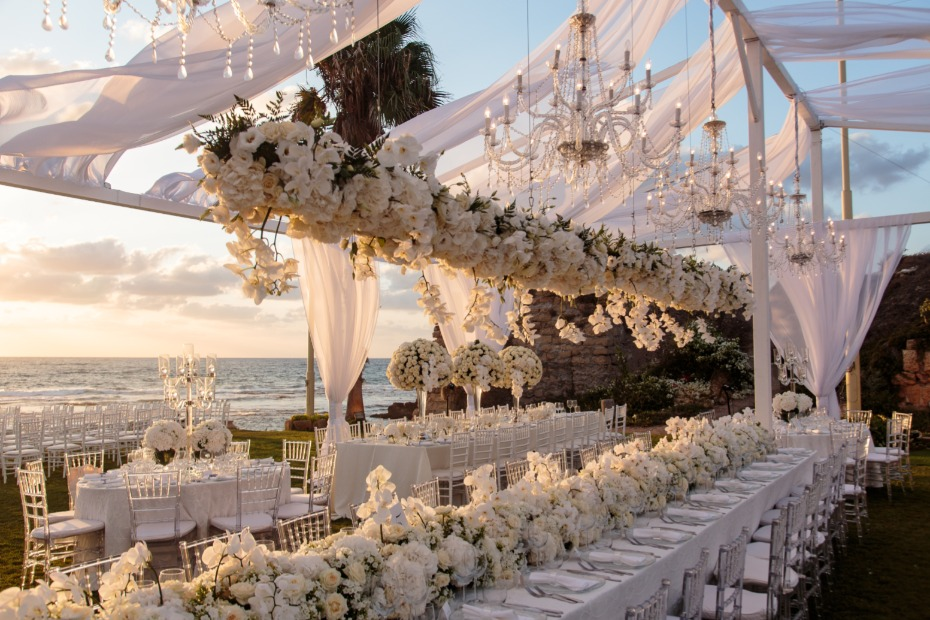 Tel Aviv All-White Wedding Reception in Caesarea Planned by BE Group TLV