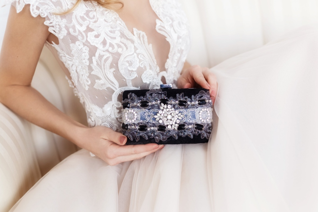 Evening ready with gorgeous rhinestone and lace clutch.