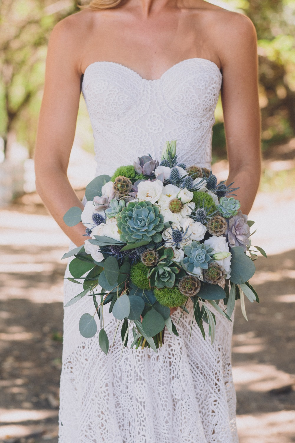 white and greenery and succulent bouquet