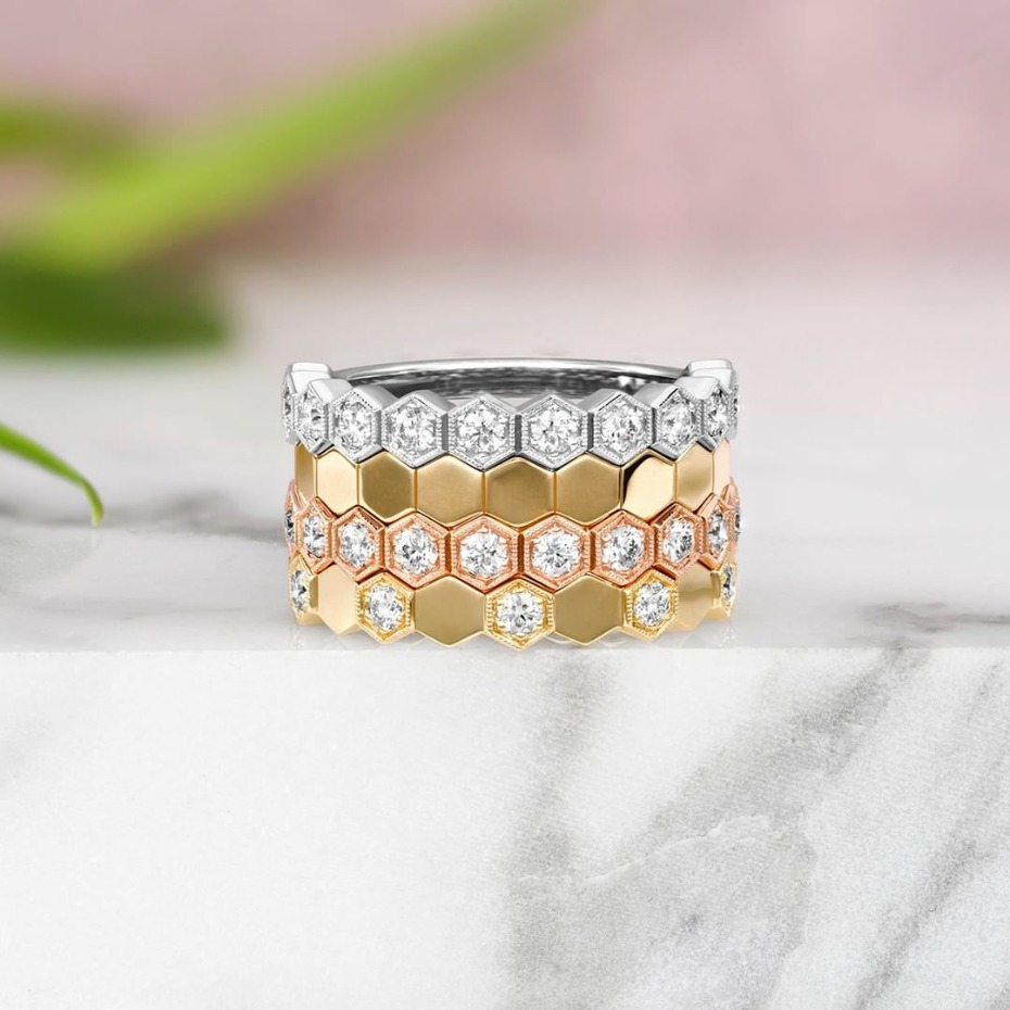 Hearts On Fire Hex Ring Stack