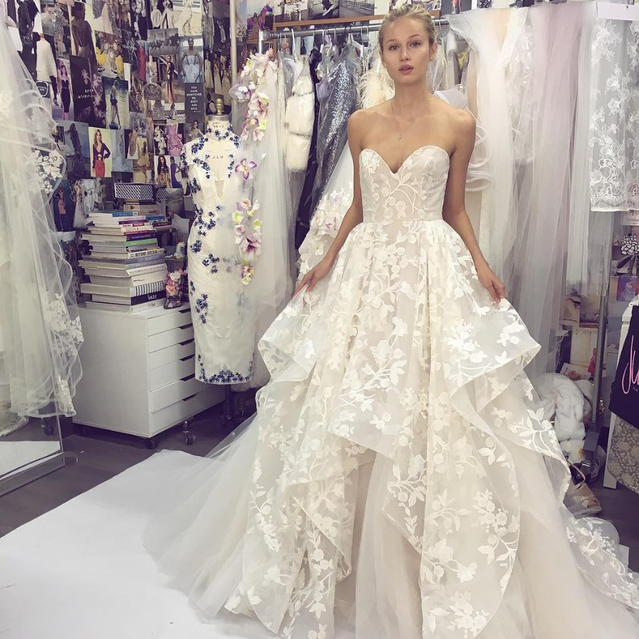 Hayley Paige Ivory Floral Applied Gown