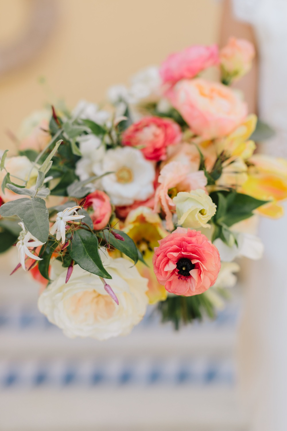 coral yellow and blush wedding bouquet