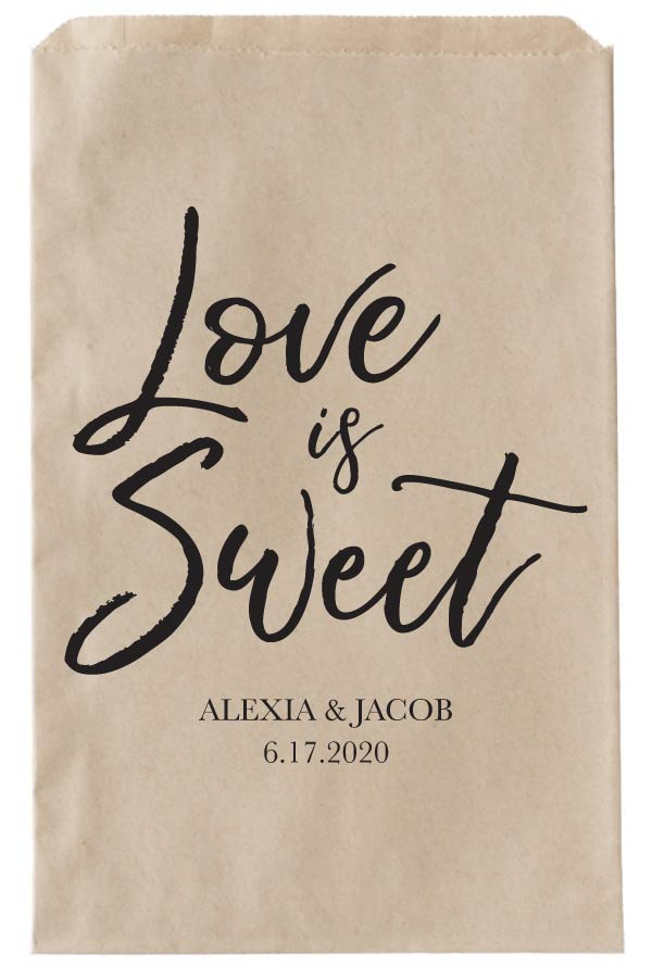 Print: Love is Sweet Wedding Paper Bags